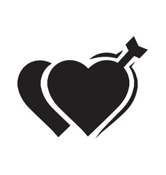 valentines two heart arrow black icon vector image
