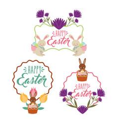 vintage frame floral decoration rabbits basket vector image