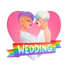 Wedding lesbian couple image with text vector