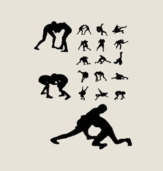 Wrestlers fighting silhouettes vector