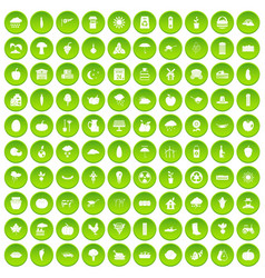 100 pumpkin icons set green circle vector