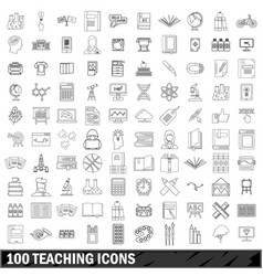 100 teaching icons set outline style vector