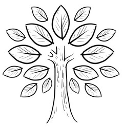 Doodle tree leaves abstract vector