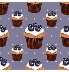 Seamless pattern blueberry cupcakes vector