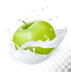 Green apple in a milk splash on a transparent vector