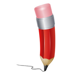 red cartoon pencil writing vector image