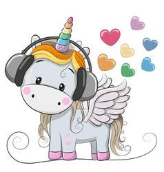 Cute cartoon unicorn with headphones vector