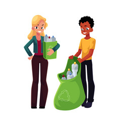 Man woman collect plastic bottles in garbage bag vector