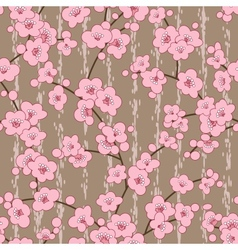 Seamless cherry sakura blossom flowers pattern vector