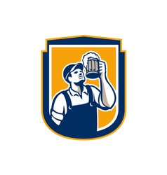 Bartender toast beer mug shield retro vector