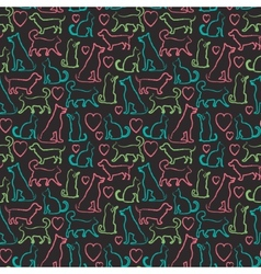 Seamless pattern with cats and dogs on blackboard vector