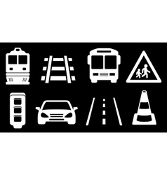 Set white transport isolated icons on black vector