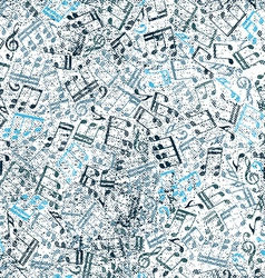 Grunge old music background with notes vector