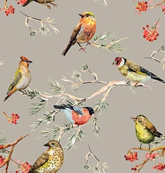 Seamless texture of cute birds watercolor painting vector