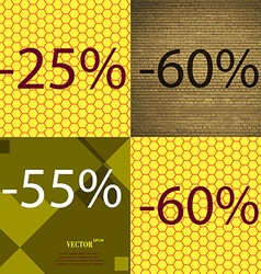 60 55 icon set of percent discount on abstract vector