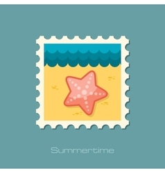 Starfish flat stamp vector