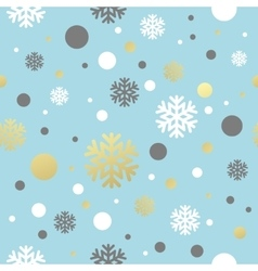 Christmas blue seamless pattern with golden white vector