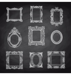 Vintage hand drawn set with picture frames vector