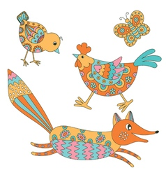 Set of animals - fox hend chicken and butterfly vector
