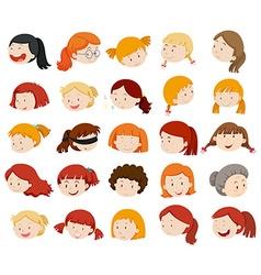 Girls and women faces vector