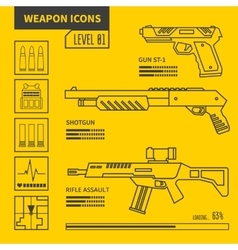 Weapon icons vector