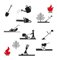 Set gardening icon vector