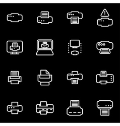Line printer icon set vector