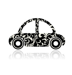 Vintage black car with floral ornament for your de vector
