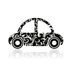 Vintage black car with floral ornament for your de vector