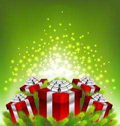 Abstract light on red gift box for Christmas vector image vector image