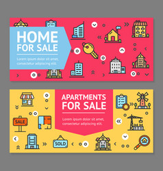 building house or home and apartment for sale vector image vector image
