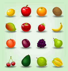 Cartoon realistic fruit cherry apple game icon vector