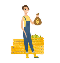 Caucasian farmer holding a money bag vector