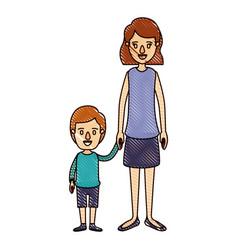 Color crayon stripe cartoon full body mother taken vector