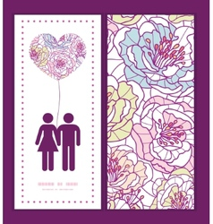colorful line art flowers couple in love vector image vector image