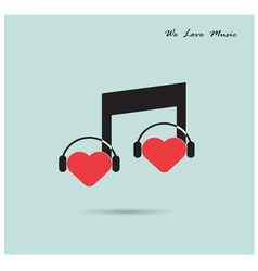 Creative music note sign icon and silhouette heart vector