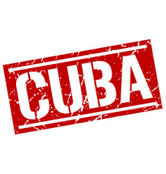 Cuba red square stamp vector