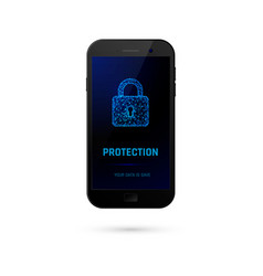cyber security system concept mobile phone with vector image vector image