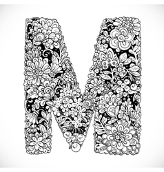 Doodles font from ornamental flowers - letter m vector