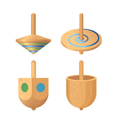 Dreidel four-sided spinning top played with vector