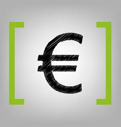 Euro sign black scribble icon in citron vector