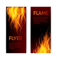 Flame banners set vector