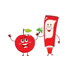 Funny toothpaste and red apple character dental vector image