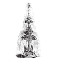 Glass fountain waterfall vintage engraving vector