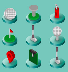 Golf flat isometric set vector