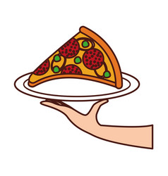 hand holding pizza with cheese pepperoni tasty vector image