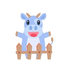 Happy cow behind wooden shed vector