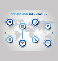 Infographic design with application icons vector