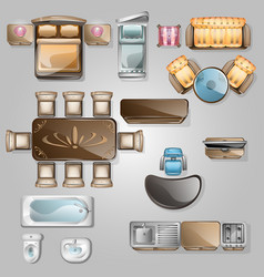 interior icons top view vector image vector image