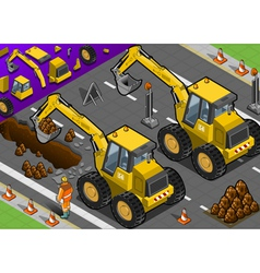Isometric Yellow Excavator in Rear View vector image vector image
